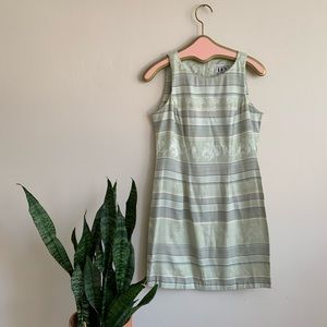 Vintage 90's Mint Green Brocade Striped Mini Dress